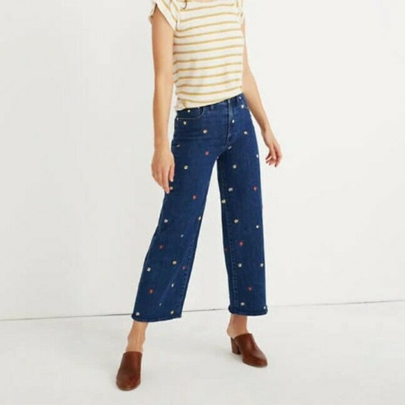 Madewell Pants - Madewell Wide-Leg Crop Jeans:Floral Embroidered 31